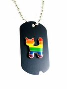Rainbow Military Style ID Tag  Rainbow Cat Design