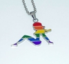 Rainbow Mudflap Girl Stainless Steel Pendant with Chain