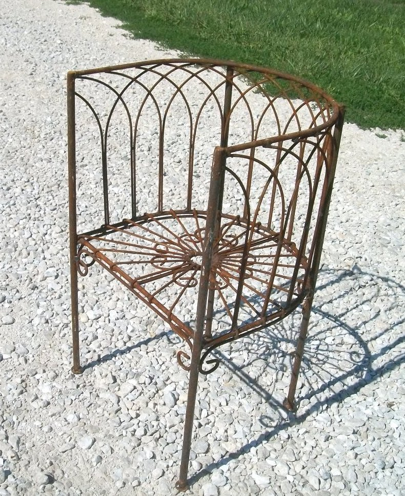 Wrought Iron Woven Childs Curved Back Chair