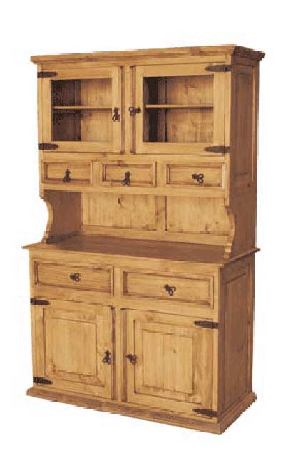 Wood buffet and hutch rustic china cabinet pine