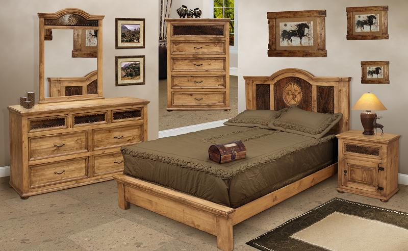 Rustic Bedroom Furniture and Pine Bedroom Furniture w/ Cowhide