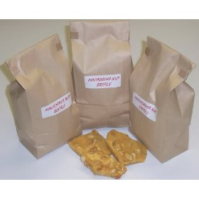 3 Pounds Macadamia Nut Brittle in a Brown Bag