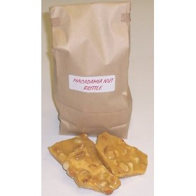 1 Pound Macadamia Nut Brittle in a Brown Bag