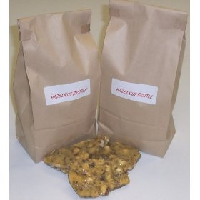 2 Pounds Hazelnut Brittle in a Brown Bag