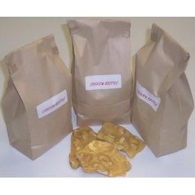 3 Pounds Cashew Brittle in a Brown Bag