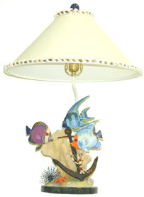 Nautical Table Lamp, Wood Fish and Anchor