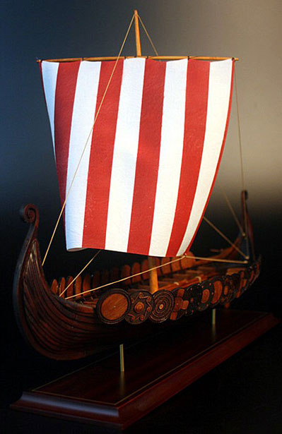 Wood Viking Boat Model