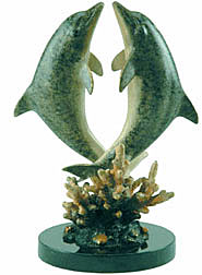 Imperial Finish Loving Dolphin Pair Brass Statue Sculpture