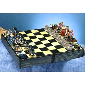 Nautical Pirate Chess Set with Treasure Chest Pawns