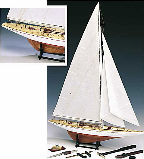 Rainbow America's Cup 1934 Model Boat Kit by Amati - Wood Planked Hull