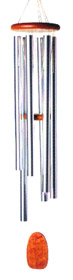 Wind Chimes of Java: by Woodstock Chimes. Cherry Wood, Silver Tubes