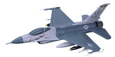 F - 16C Fighting Falcon, Wood Airplane Model, (USAF) Loaded.