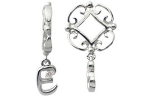 """Initial """"E""""  """"H""""   """"N"""" Diamond Accented Dangle on Wheel, 14k White Gold $295 - Sale - $118 ONLY 2 LEFT"""