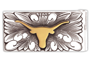 The University of Texas - Money Clip Sterling Silver $425 Silver Overlay w/ 14k Gold Bevo