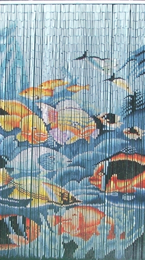 Tropical fish curtain fish bamboo painted beaded curtain for Hand painted bamboo beaded curtains