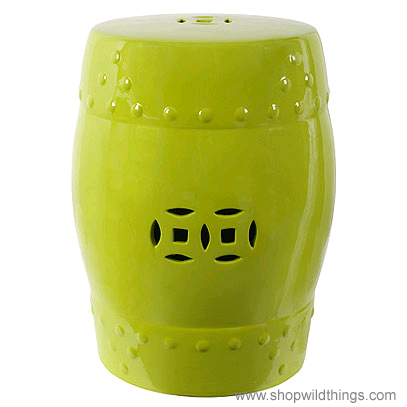 Lime Green Garden Stool, Lime Ceramic Garden Stool, Indoor ...