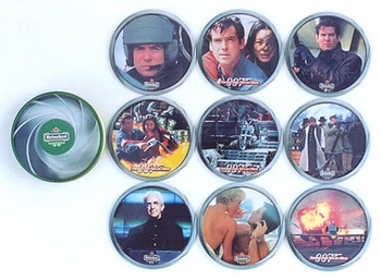 Tomorrow Never Dies Heinken Tin Coaster Set - click to enlarge