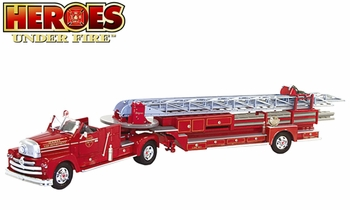 Seagrave Tractor-Drawn Aerial Ladder Truck Model - Corgi HC52510 - click to enlarge