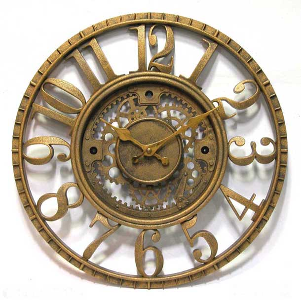 Open Dial Resin Gear Wall Clock by Infinity Instruments Vintage