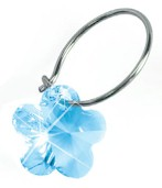 Blomdahl Titanium Sleeper Earrings with Hanging Flower - Aquamarine