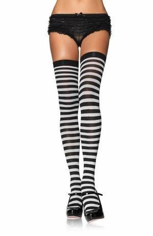 Opaque Striped Thigh Highs * 6005