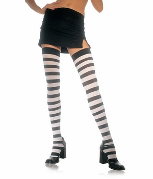 Opaque Wide Stripe Thigh Hi Stocking * 6110