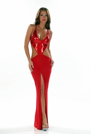 Stretch Sequins Gown * 4452