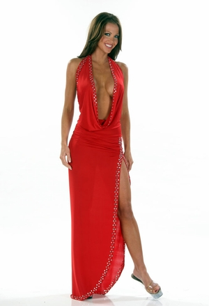 Stretch Rhinestones Gown * 4459