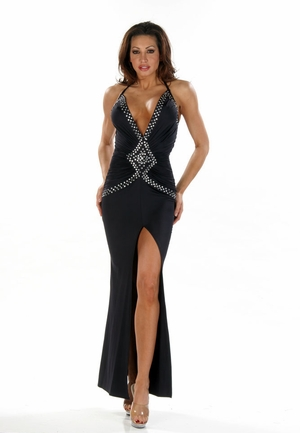 Stretch Rhinestones Gown * 4463