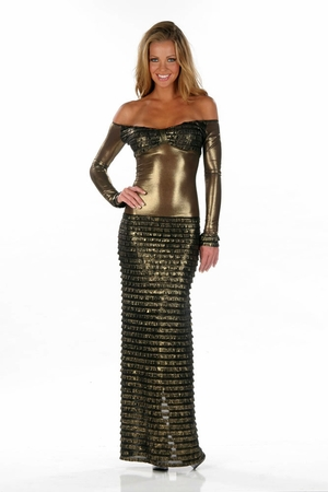 Stretch Metallic Gown * 4529