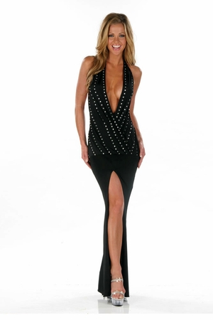 Glossy Poly Lycra Gown * 4564