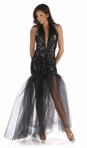 Stretch Sequin Gown * 4904