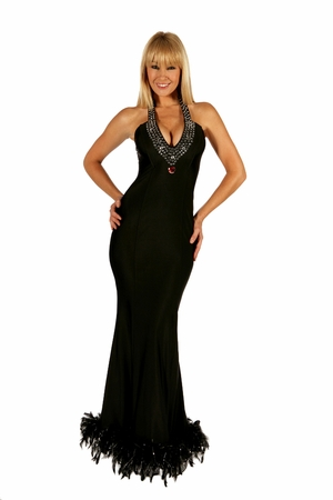 Rhinestones/Feathers Gown * 5522