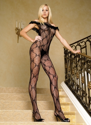 Bow Lace Body Stocking With Ruffle * 8809
