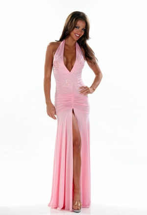 Stretch Beaded Applique Gown * 4440X