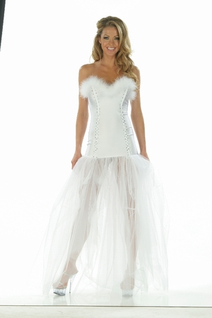 Lycra/Feathers/Tulle/Rhinestone Gown * 4858X