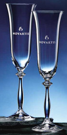 Engravable Glassware Anna Flutes.  Set of 2