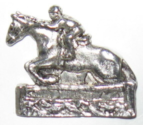 "Pin/Brooch  Horse and rider, Cast Pewter, 1 1/4"" x 1 1/8"""