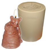 "BEAR AND BEEHIVE POLYURETHANE CANDLE MOLD (2.75"" HT)"
