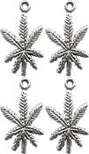 MARIJUANA LEAF CHARM, STERLING SILVER (21mm x 12mm)