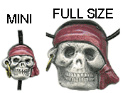MINI PIRATE SKULL BEADS, 13mm x 12mm