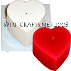 "LARGE FLAT HEART CANDLE MOLD (2.75"" HT, 1 lb 13 oz)"