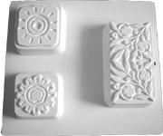 3 LARGE DECORATIVE BARS, SUNS AND FLOWER