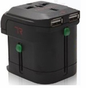 World AC Travel Plug Adapter with Dual USB Charger & Surge Protection