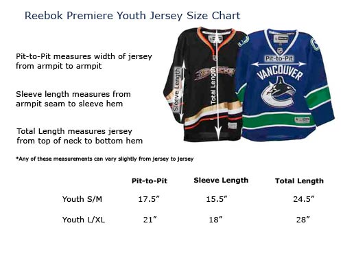 Youth reebok premier hockey jersey sizes