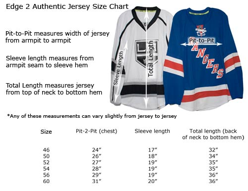 Authentic Reebok Edge 2 Hockey Jersey Sizes