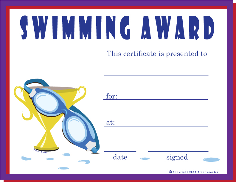 Free swimming certificates certificate free swimming yadclub Choice Image