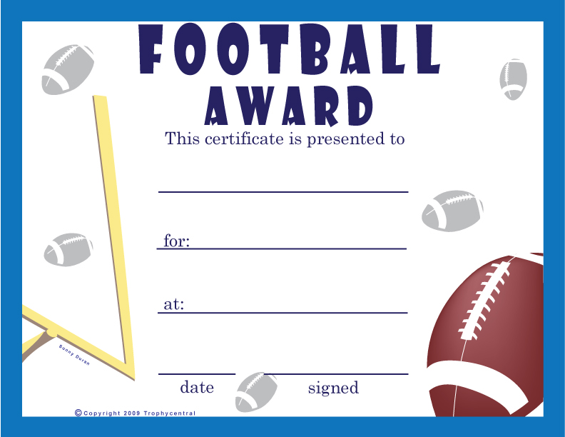 Free Football Certificates Certificate Free Football
