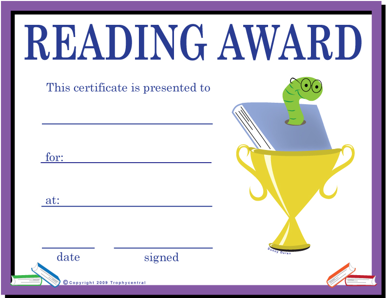 Free Reading Certificates, Certificate Free Reading