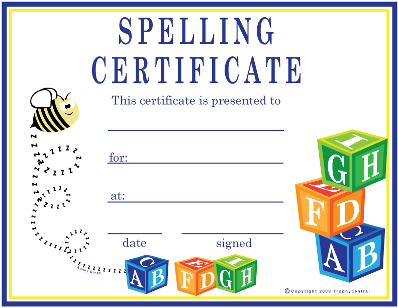 Free spelling certificates certificate free spelling yelopaper Images